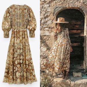 Zara Metallic Printed Floral Smocked Maxi Dress